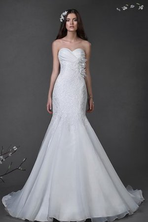 Flowers Mermaid Lace Fabric Sweetheart Natural Waist Wedding Dress
