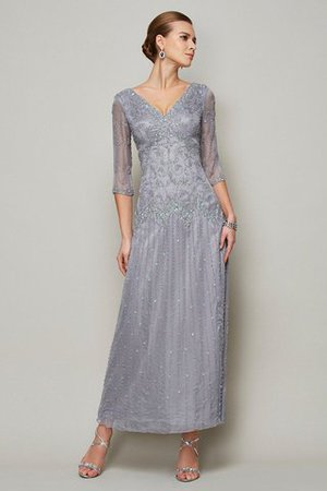 Ankle Length Half Sleeves V-Neck Beading Mother Of The Bride Dress