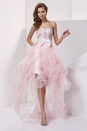 A-Line Asymmetrical Sleeveless Organza Strapless Homecoming Dress
