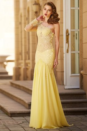 Natural Waist Lace Sweep Train Chiffon One Shoulder Prom Dress