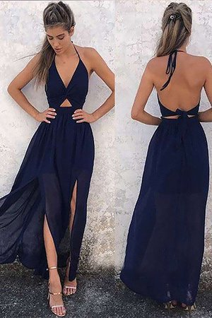Sleeveless Hot Sale V-Neck Chiffon Floor Length Natural Waist Ruched Prom Dress