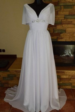 Chiffon Lace-up Short Sleeves A-Line Pleated Wedding Dress