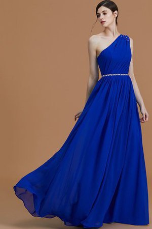 Natural Waist One Shoulder A-Line Sleeveless Floor Length Bridesmaid Dress