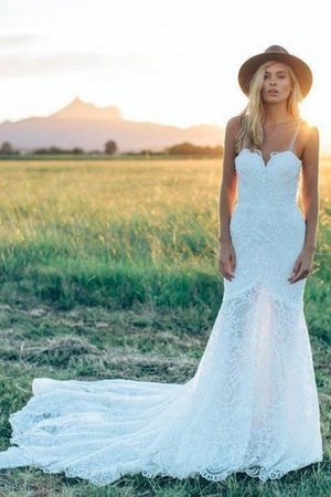 Chapel Train Pleated A-Line Spaghetti Straps Wedding Dress