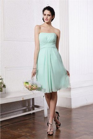 Empire Waist Zipper Up Sheath Chiffon Knee Length Bridesmaid Dress
