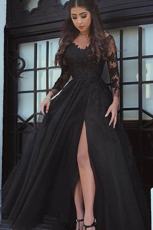 Appliques Natural Waist Tulle Popular Ball Gown Long Sleeves Off The Shoulder Prom Dress
