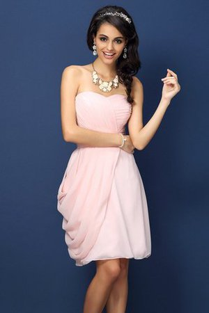 Pleated Natural Waist Sleeveless Short Sweetheart Bridesmaid Dress