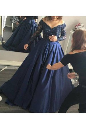 Satin Ball Gown Beading Natural Waist Off The Shoulder Evening Dress