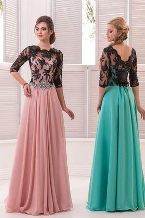 Simple Sweep Train Floor Length A-Line Lace Prom Dress