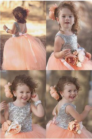 Flowers Tulle Sleeveless Princess Sequined Flower Girl Dress