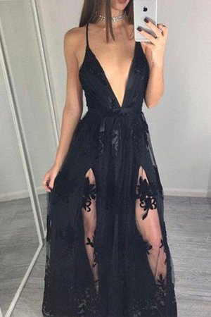 Sleeveless Natural Waist Floor Length Tulle Spaghetti Straps Prom Dress