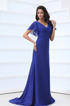 Short Sleeves Ruched Elegant & Luxurious Sheath Sweep Train Bridesmaid Dress