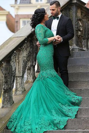 Appliques Mermaid Sweep Train Natural Waist Tulle Prom Dress