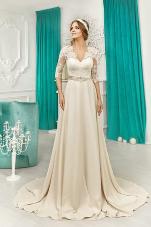 Simple Zipper Up Floor Length Satin Half Sleeves Wedding Dress