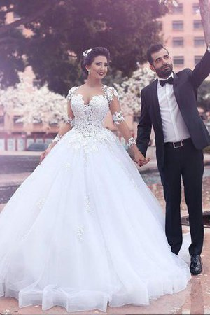 Natural Waist Tulle Ball Gown Sweetheart Court Train Wedding Dress