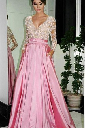 Floor Length A-Line Elegant & Luxurious Pleated Long Sleeves Evening Dress