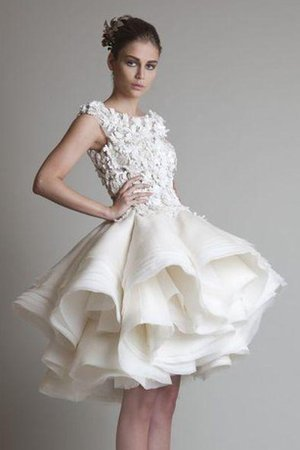Ball Gown Ruffles Sleeveless Short Organza Wedding Dress