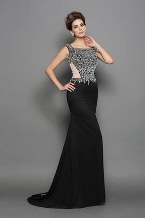 Zipper Up Mermaid Sleeveless Chiffon Beading Prom Dress