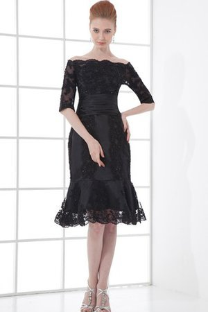 Vintage Lace Fabric Knee Length Scalloped-Edge Ruched Party Dress