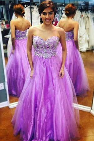 Tulle Sweetheart Appliques Floor Length A-Line Prom Dress