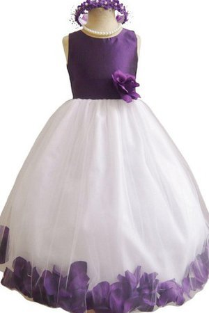 Floor Length Tulle Flowers Scoop Natural Waist Flower Girl Dress