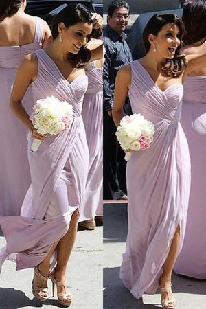 Chiffon Natural Waist A-Line Floor Length Ruched Bridesmaid Dress