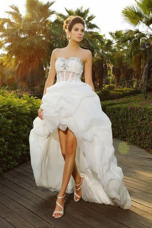 Sleeveless Asymmetrical Beading Organza Princess Wedding Dress
