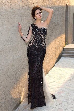 One Shoulder Long Natural Waist Sequined Sequins Evening Dress