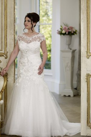 Short Sleeves Embroidery Mermaid Court Train Wedding Dress