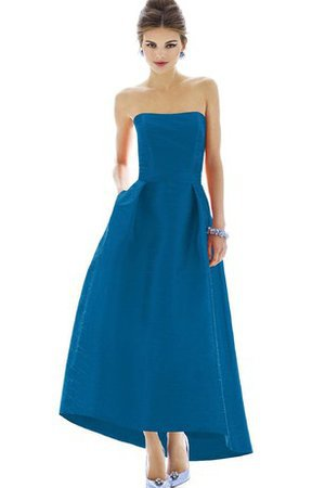 High Low A-Line Beautiful Strapless Bridesmaid Dress