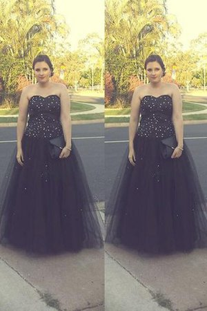 Tulle Natural Waist Floor Length Ball Gown Plus Size Prom Dress