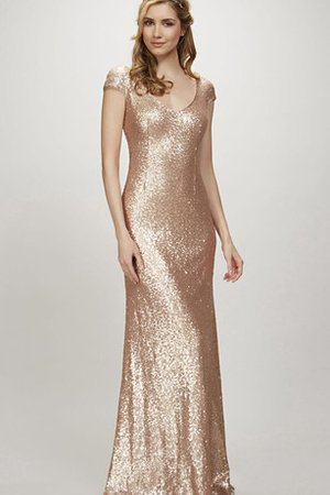 Zipper Up Sequined Simple V-Neck Floor Length Bridesmaid Dress