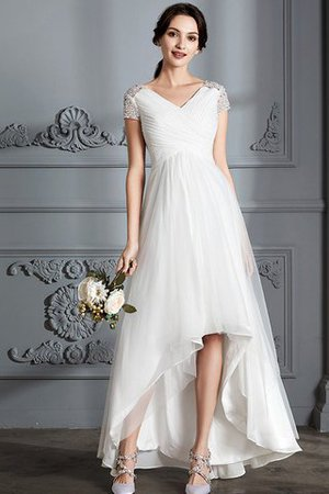 V-Neck Natural Waist Tulle A-Line Wedding Dress