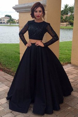 Floor Length Scoop Natural Waist Ball Gown Long Sleeves Evening Dress