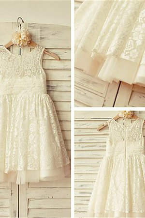 Ruffles Tea Length Lace Zipper Up Scoop Flower Girl Dress