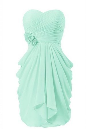 Chiffon Draped Sweetheart Flowers Natural Waist Bridesmaid Dress