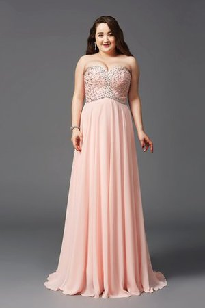 Princess Sleeveless Sweep Train Natural Waist Beading Prom Dress