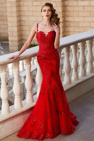 Sweep Train Sleeveless Mermaid Appliques Tulle Prom Dress