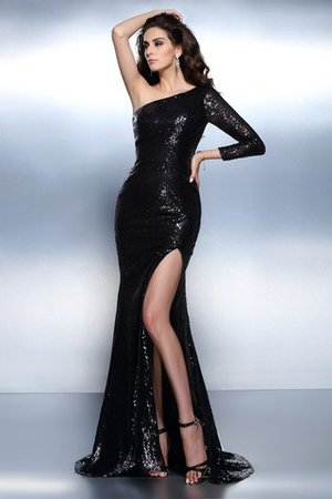Lace Long Sequined Long Sleeves Zipper Up Evening Dress
