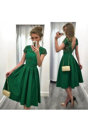 Backless Short Sleeves Capped Sleeves Elegant & Luxurious Vintage Homecoming Dress