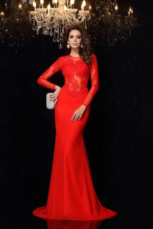 Scoop Lace Long Sleeves Court Train Natural Waist Evening Dress