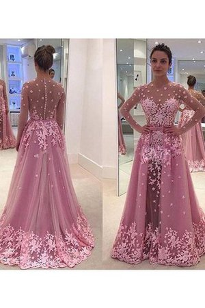 Long Sleeves Appliques Scoop A-Line Floor Length Prom Dress