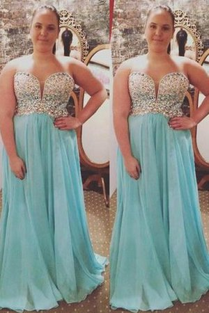 Plus Size Princess Natural Waist Beading Sweep Train Prom Dress