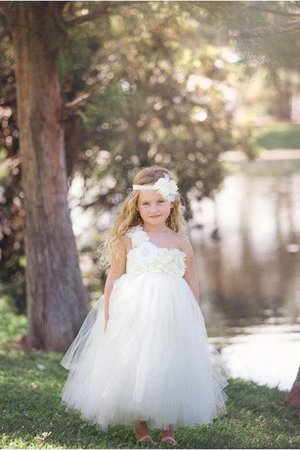 Empire Waist Tulle Floor Length Sleeveless Flowers Flower Girl Dress