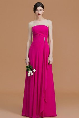 Strapless Floor Length Zipper Up Ruffles Chiffon Bridesmaid Dress
