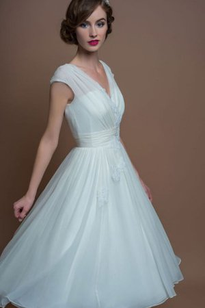 A-Line Romantic V-Neck Ruched Tea Length Wedding Dress
