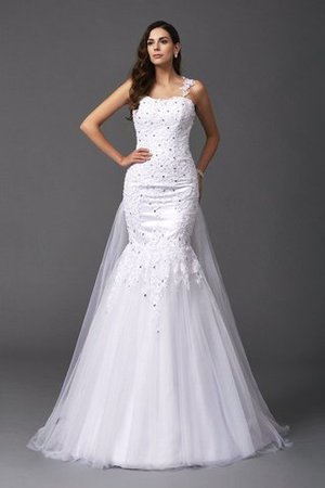 Wide Straps Long Sweep Train Natural Waist Wedding Dress
