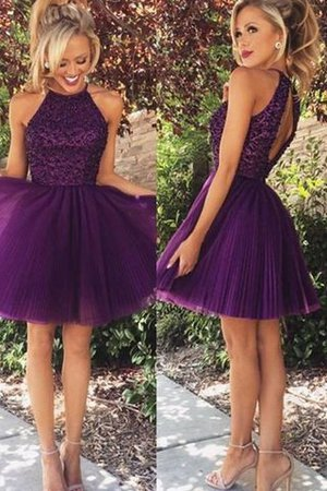 Beading Short Natural Waist Sleeveless Tulle Cocktail Dress