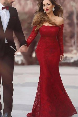 Off The Shoulder Mermaid Natural Waist Lace Ruffles Long Sleeves Evening Dress