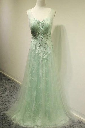 Tulle Beading Lace Zipper Up Sweep Train Prom Dress